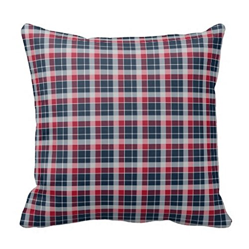Navy Blue Red And Grey Sporty Plaid Square Pillow Case
