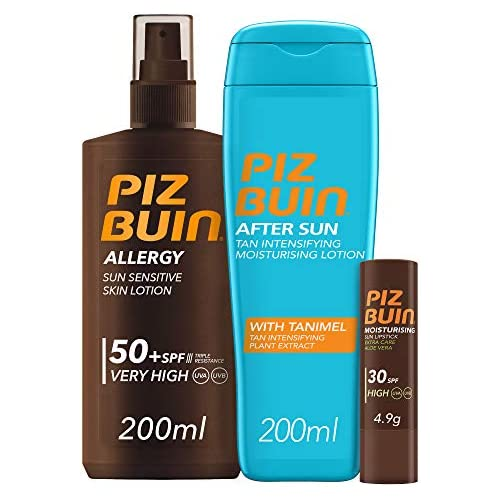chollos oferta descuentos barato Piz Buin Allergy Spray Piel Sensible SPF 50 200ml After Sun Loción Intensificadora del bronceado 200ml Moisturising Stick Labial SPF 30 4 9g