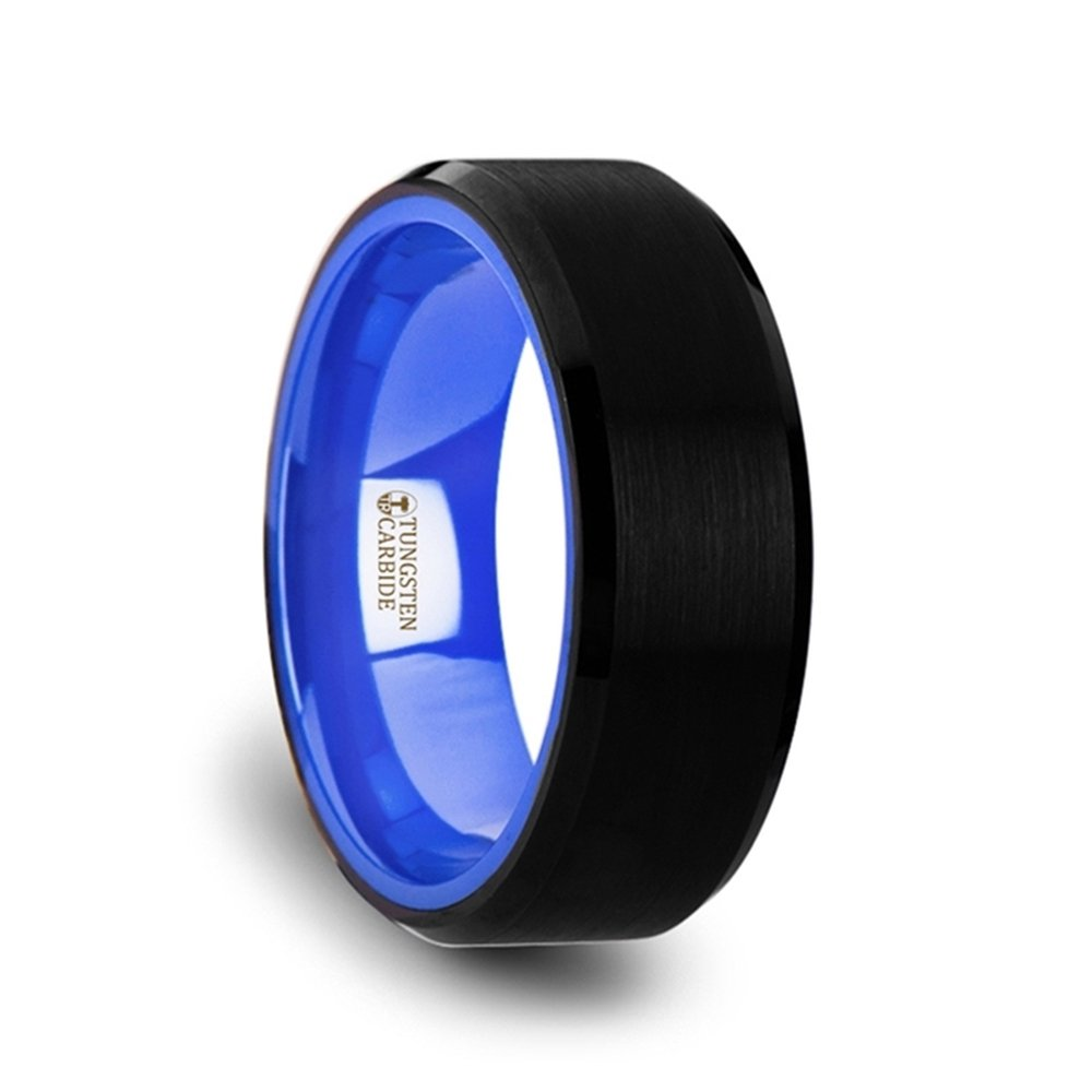 RIGEL Flat Beveled Edges Black Tungsten Ring with Brushed Center and Vibrant Blue Inside - 8mm
