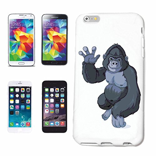 "cas de téléphone iPhone 6+ Plus ""PETITE GORILLA EN WAVE MONKEY MONKEY GORILLA CHIMP SILVER RETOUR APE CHARLY MONKEY KING KONG"" Hard Case Cover Téléphone Covers Smart Cover pour Apple iPhone en blanc"