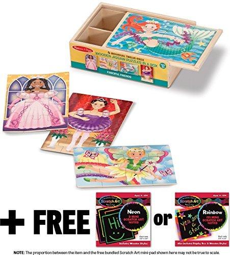 Fanciful Friends Puzzles in a Box + FREE Melissa & Doug Scratch Art Mini-Pad Bundle [95204] ()