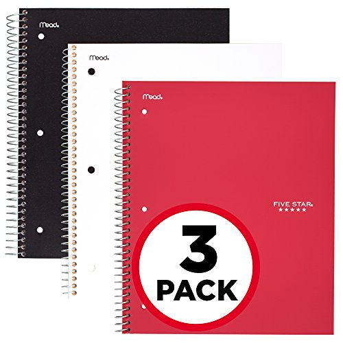 Five Star Spiral Notebooks, 1 Subject, Wide Ruled Paper, 100 Sheets, 10-1/2