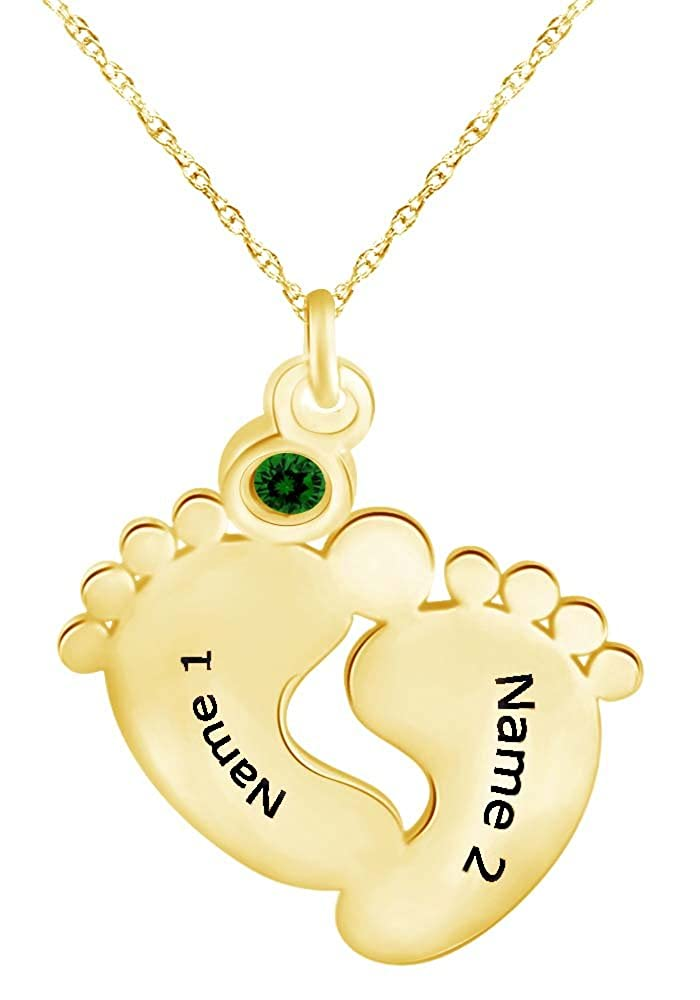 Wishrocks Personalized Feet Pendant Engraved Any Name and Date of Birth Necklace