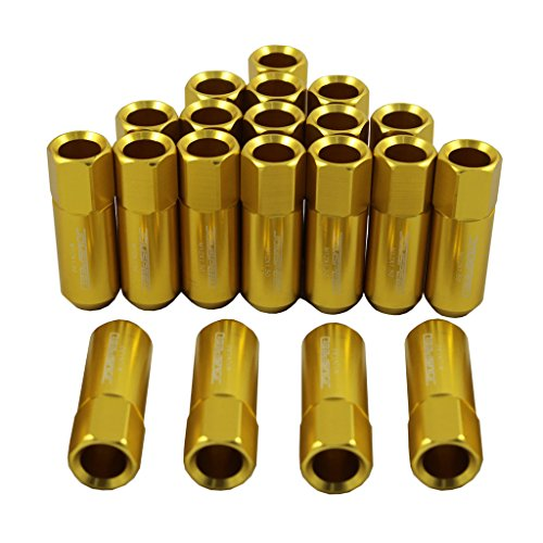 JDMSPEED Gold 60MM Aluminum Extended Tuner Lug Nuts For Wheel Rims M12X1.5 20PCS