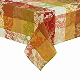 Oak leaves adorn this fabric tablecloth. Rich warm Fall colors in a block style fashion. 100% cotton. Machine washable and can be tumbled dry on low heat. A beautiful tablecloth for the Fall and Thanksgiving Season.