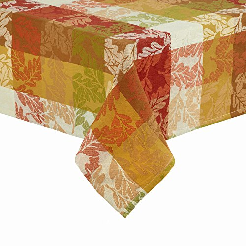 - Harvest Autumn Leaves Forever Fall Tablecloth Woven Jacquard Fabric (60 x 84 Rectangle/Oblong)