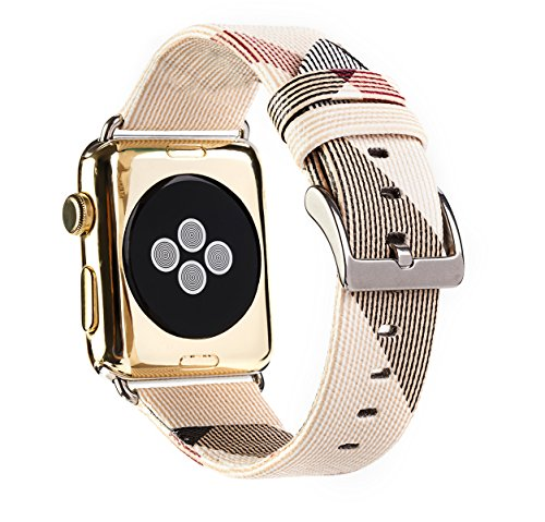 for Apple Watch Band PU Leather Iwatch Strap Replacement 42mm Band with Stainless Metal Classic Buckle for Apple Watch Series 3 Series 2 Series 1 (White 42mm)