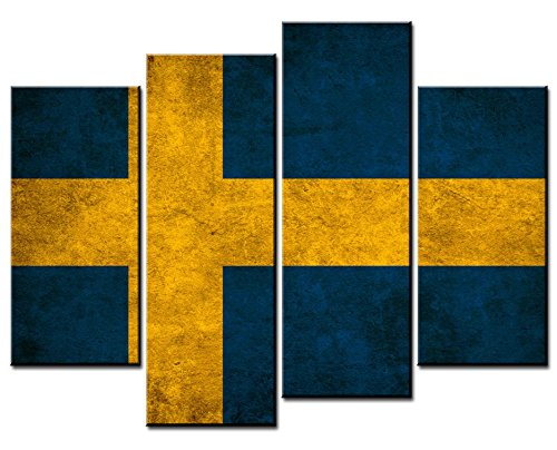 Canvas Print Wall Art Painting - 4 sets pictures of Swedish Flag Paintings - The Picture For Living Room Decoration,City Pictures Photo Prints On -