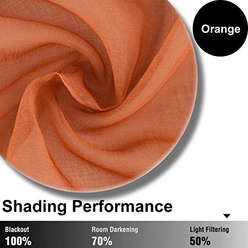 Orange Ombre Sheer Curtains 63 inches Long, Orange Sheer Curtains for Bedroom, Rod Pocket Window Curtains for Living Room Decor, 2 Panels 52\