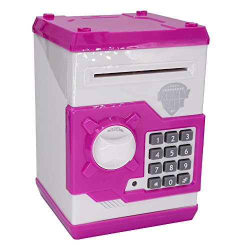 Updated Code Electronic Piggy Banks Mini ATM Electronic Save Money Coin Bank Coin Box For Kids With Electronic Lock & Secret Code To Unlock with Password Great Gift Toy for Children Kids(Pink & White)