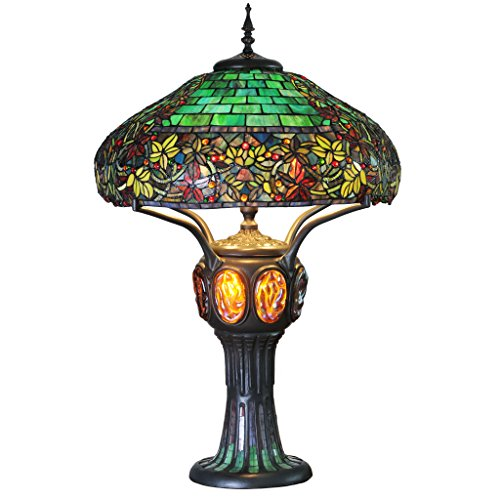 (River of Goods 11912 H Stained Glass Hampstead Table Lamp w/Turtleback and Mosaic Base, 34