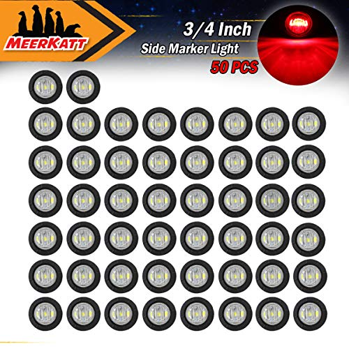 "Meerkatt (Pack of 50) 3/4"" Inch Sealed Mini Small Round Clear Lens Red LED Side Marker Mount Indicator Light Waterproof Bullet Clearance Lamp Truck Pickup RV Boat Trailer Jeep ATV SUV 12V DC Universal"