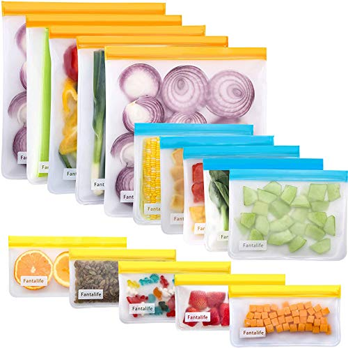 Fantalife Reusable Storage Bags - 15 Pack Reusable freezer Bags BPA FREE - 5 Leakproof Reusable Food Storage Bags + 5 Reusable Sandwich Bags Washable + 5 Reusable Snack Bags - Lunch Bags for Food