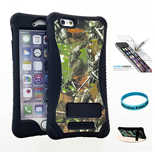 iPhone 6S Case, Wireless Fones 2 Layer Slim Hybrid Case Green Leaf Camo Mossy with Kickstand & Glass Screen Protector for iPhone 6 / 6S (Kickers Camo)