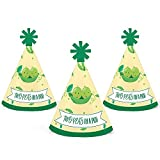 Big Dot of Happiness Double the Fun - Twins Two Peas in a Pod - Mini Cone Baby Shower or First Birthday Party Hats - Small Little Party Hats - Set of 10