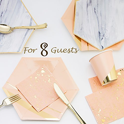 8 Stylish Gold Foil Stripe / Marble Disposable Place Setting - 8 Hexagon Dinner Plates , 8 Hexagon Salad or Dessert Plates , 8 Cups , 20 Napkins & 8 Gold Plating Plastic Forks Knives & Spoons (Salad Cup Plate)