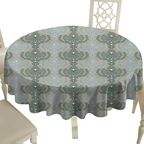 (floral round tablecloth 36 Inch Floral,Abstract Art Damask Desgin Floral Ornament Background Wallpaper Pattern Print,Blue and Taupe Suitable for traveling,outdoors,family,restaurant,coffee shop More)