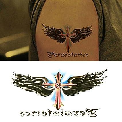 Oottati Pequeño Lindo Tatuaje Temporal Palabras Ala Cruzada (2 ...