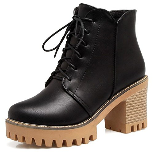 IDIFU Womens Stylish High Chunky Heel Lace Up Platform Ankle Boots Black P0YMyIuLG