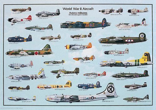 (24x36) World War II Military Aircraft Educational Chart Poster