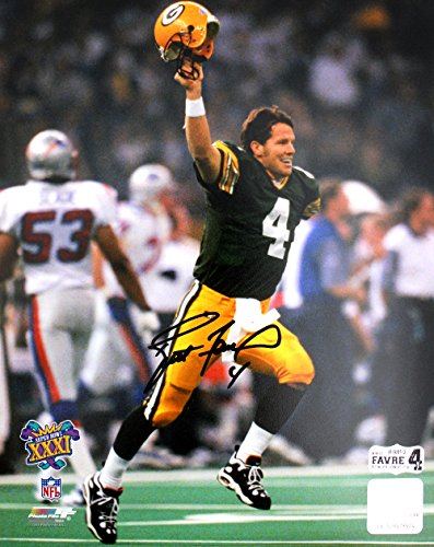 (Brett Favre Autographed/Signed Green Bay Packers Super Bowl XXXI 8x10 Photo - The Kid)
