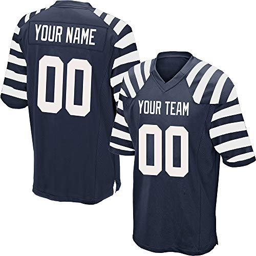Custom Men's Striped Mesh Football Game Jersey Stitched Team Name and Your Numbers,Navy-White Size L
