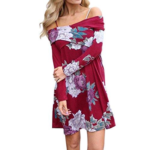 Fashion Dress!Mr. Macy Women Spring Floral Casual Slash Neck Loose Long Sleeve Mini Dress (M, - Macys Springs Cool