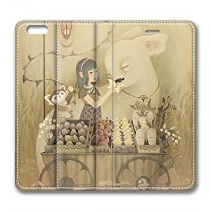 Iphone 6 leather Case,Iphone 6 Cases ,Feed the animals little girl Custom Iphone 6(4.7)High-grade leather Cases