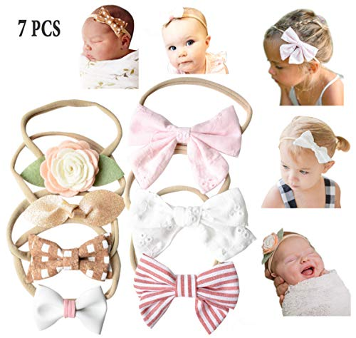 California Tot Baby Girls' Set of 7 Mixed Bows in Soft & Stretchy Nylon Headbands for Newborn, Toddler Girls (Uptown Girl Set)