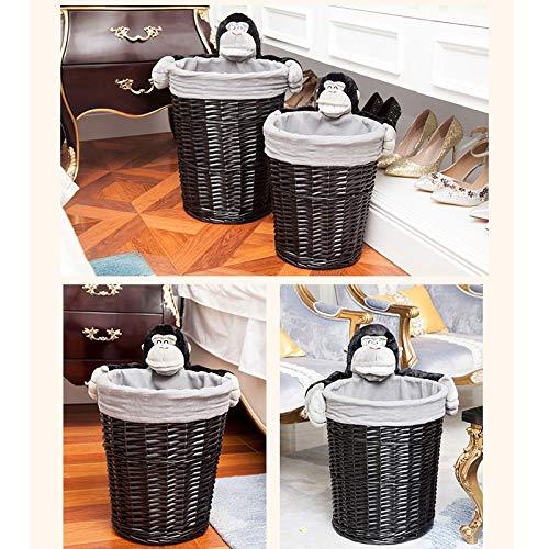 JSSFQK Rattan Storage Basket Cartoon Storage Basket, Dirty Clothes Toy Snack Storage, Black, Three Sizes Storage Box (Size : M) by JSSFQK (Image #8)