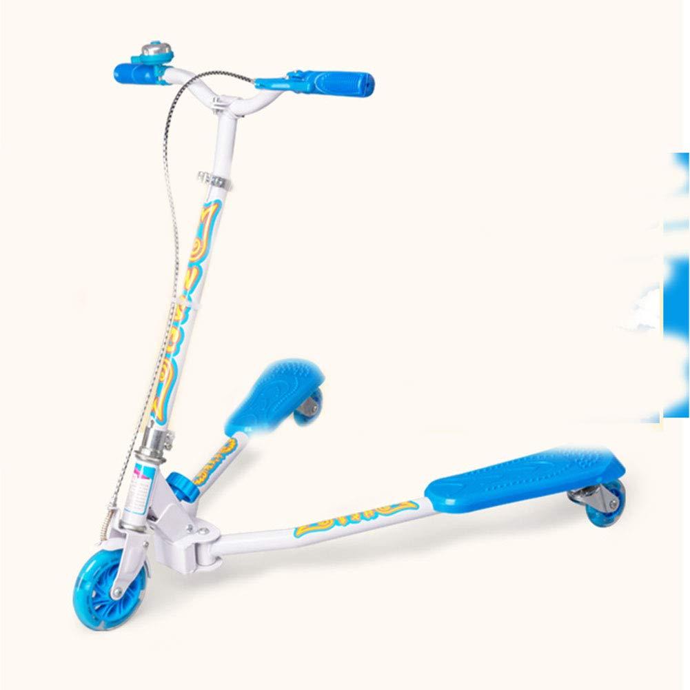 キックスクーター Puフラッシュホイール ル ハンドブレーキ 持ち運び便利なベ大人 アルミニウム製 立 314歳に最適 B07PTS3F1V  blue