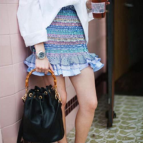 1342ce94b7f7 Taille Jupe Pour Plissée Courte Élégante Mode Coloré Vintage De Femme S  Rayure Toogoo Collante Élastique ...