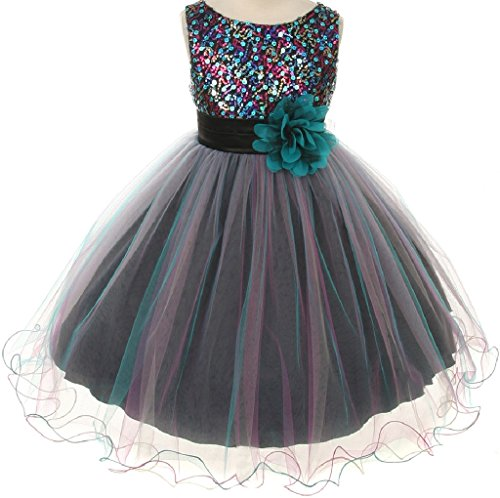 Sleeveless Multi Sequin Trio Big Girl Special Occasion Dresses (32K7D) Teal 10