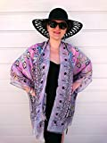 Plus Size Kimono, Paisley Beach Cover Up, Pink Silk Robe