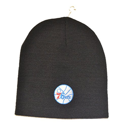 Cuffless Cap Knit Hat (Philadelphia 76ers Black Skull Cap - NBA Cuffless Winter Knit Toque Beanie Hat)
