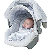 Carseat Canopy 5 Pc Whole Caboodle Baby Infant Car Seat Cover Kit with Minky Fabric (Chevy)