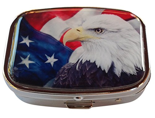 (American Flag Bald Eagle Patriotic Silver Two Compartment Rectangular Pocket/Purse/Travel Pill Box)