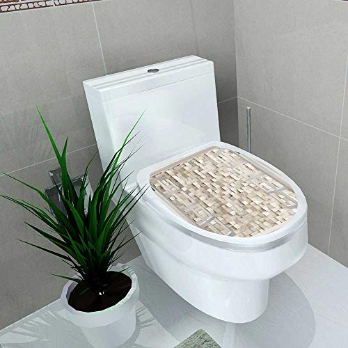 Auraise-home Decoration Bathroom Toilet Cover Sticker Abstract Texture from Wooden Cubes d Render for Restroom Wall Decals W8 x L11
