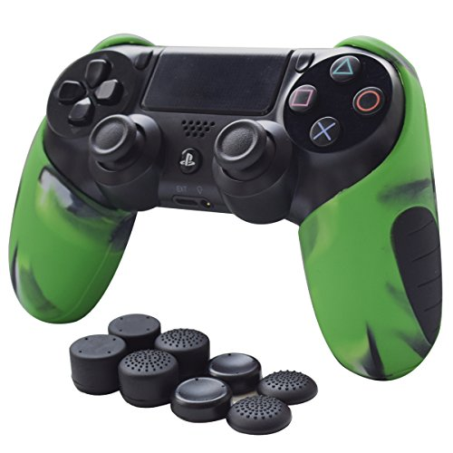 Pandaren Skin Compatible for PS4 Controller Soft Silicone Thicker Half Skin Cover Grip for PS4 /Slim /PRO Controller (Camouflage Green Skin X 1 + Thumb Grip X 8)