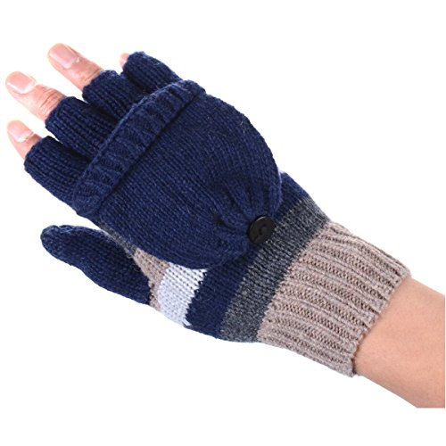 (BYOS Women Winter Cute Striped Wool Blend Convertible Fingerless Flip over Knit Mitten Gloves Combo w/ Touchscreen Compatible on Thumbs (Multi Navy Stripes))