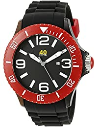 Unisex 40NINE01/BLACK/RED Extra Large 50mm Analog Display Japanese Quartz Black Watch