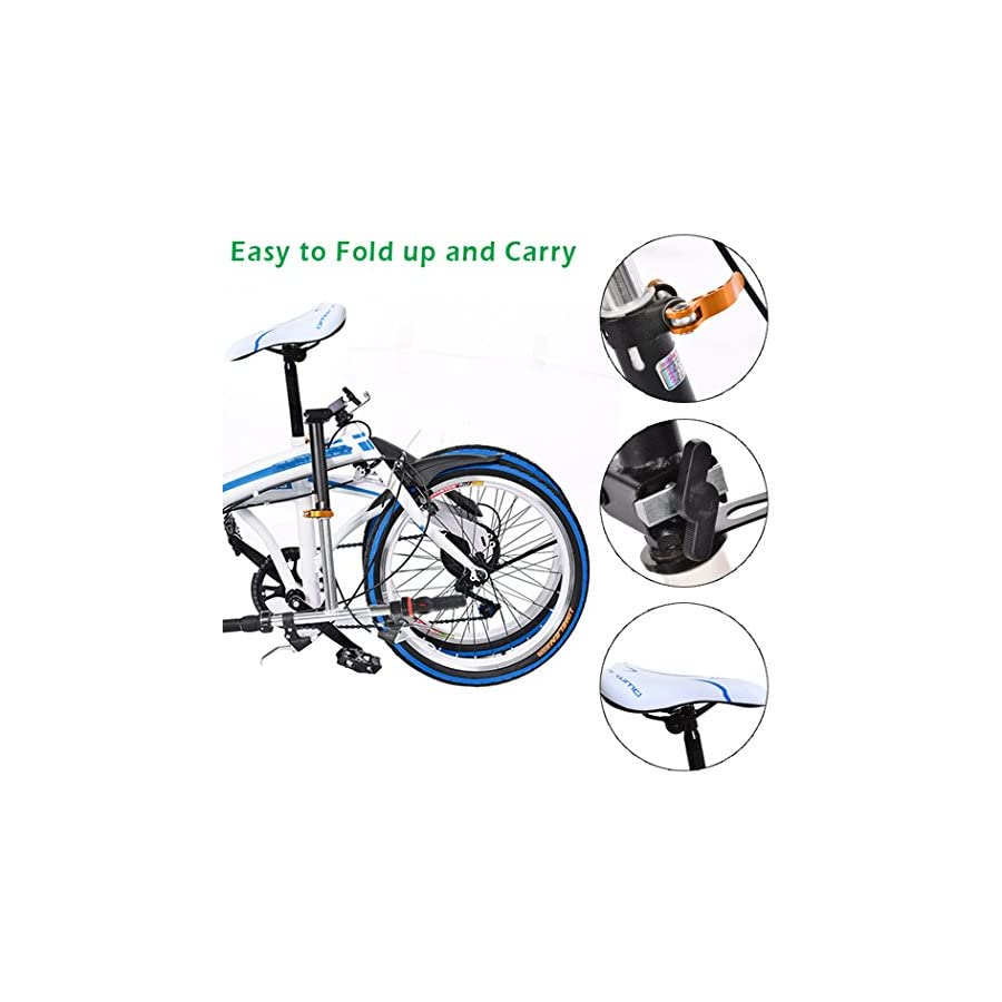 """Hindom Women's 20"""" Folding Bike, Ladies Fold Storage Bicycle, 6 Speed Shimano Gears, Urban Commuter, Carbon Steel Compact Bike, City Sports College School, Blue/Red (US STOCK)"""
