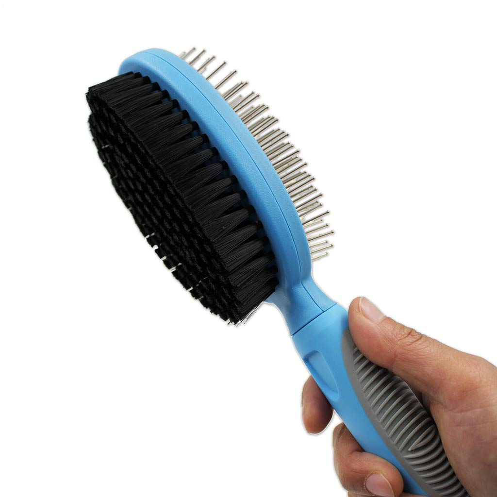 SummarLee Pet Comb Stainless Steel Double-Sided Hairpin Open Knot Hair Removal Comb Dog Cat Hair Removal Comb Non-Slip Handle Blue Gray 2476cm