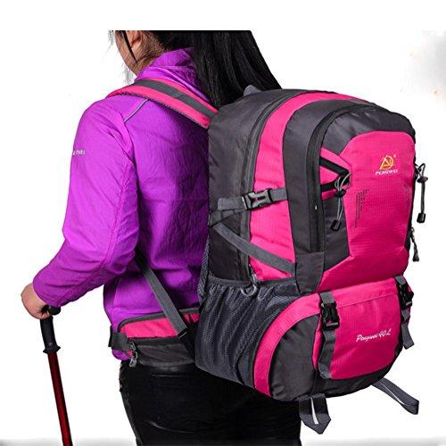 Hombres y mujeres sección 40L mochila al aire libre impermeable saco de excursión , rose red Black