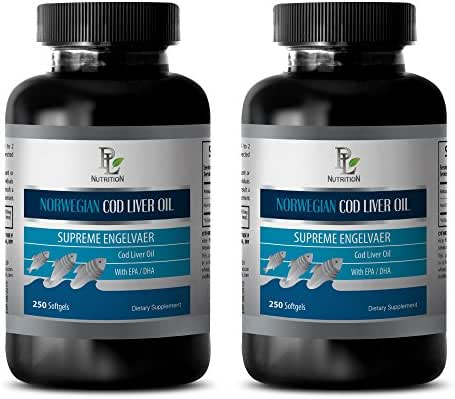 Nervous system tonic - NORWEGIAN COD LIVER OIL with Vitamins A & D3/EPA & DHA - Fish oil omega 3 - 2 Bottles 500 Softgels