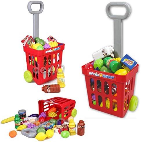 deAO Supermercato con Carrello Negozio Bancarella Mercato con Scanner e Accessori Inclusi