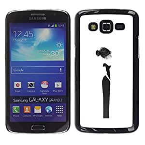 Caucho caso de Shell duro de la cubierta de accesorios de protección BY RAYDREAMMM - Samsung Galaxy Grand 2 SM-G7102 SM-G7105 - Couture Woman Black Dress