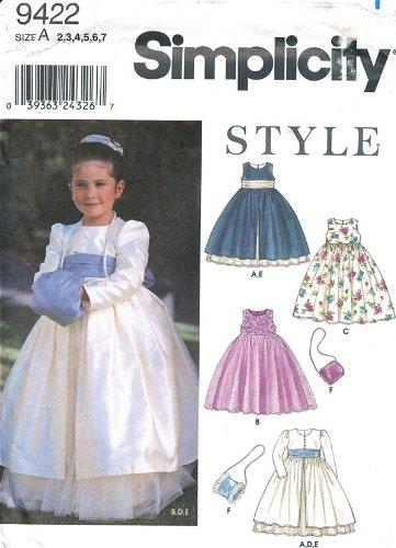 (Simplicity 9422 Girls' Dress, Coat, Sash and Muff - Size A (2, 3, 4, 5, 6,)
