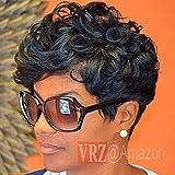 VRZ Short Black Wavy Human Hair Wigs Color 1B(8815B)