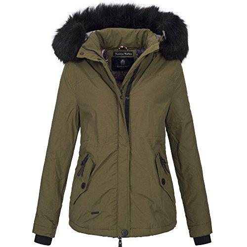 Marikoo JULIET Damen Jacke Parka Kurz gefüttert Mantel Winterjacke Kurzjacke Kapuze, Größe:XL - 42;Farbe:Khaki